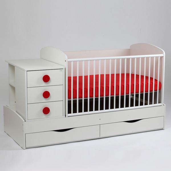 Patut copii si bebelusi Transformer Silence Grilaj Culisant Alb-Rosu + Saltea Confort
