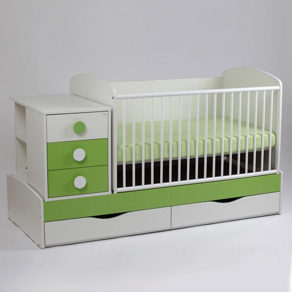 Patut copii si bebelusi Transformer Silence Grilaj Culisant Alb-Verde Inchis + Saltea Confort