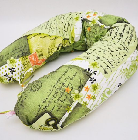 Pernă gravidă cornuleț scrisori pe verde (3 in 1)