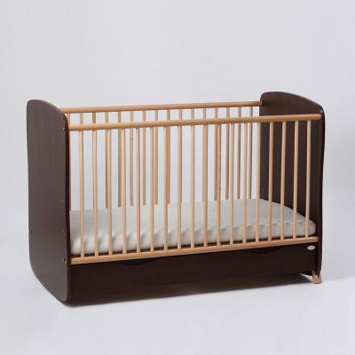 Patut bebe reglabil pe 3 nivele de inaltime Clasic Confort cu saltea inclusa Wenge