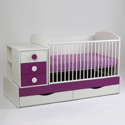 Patut copii si bebelusi Transformer Silence Grilaj Culisant Alb-Mov Inchis + Saltea Confort