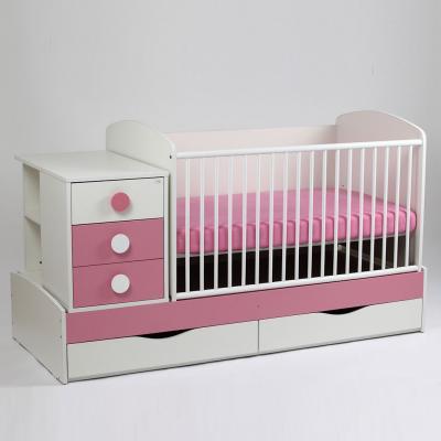 Patut copii si bebelusi Transformer Silence Grilaj Culisant Alb-Roz + Saltea Confort