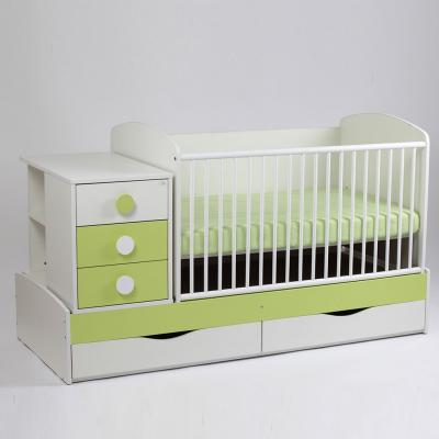 Patut copii si bebelusi Transformer Silence Grilaj Culisant Alb-Verde Deschis + Saltea Confort