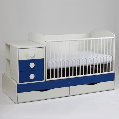Patut copii si bebelusi Transformer Silence Grilaj Culisant Alb-Albastru Inchis + Saltea Confort
